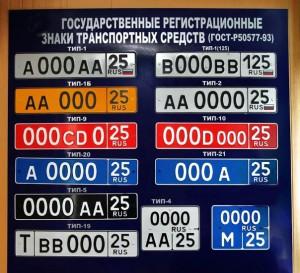 цвета фона номерного знака